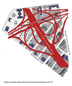 I-270/I-370 interchange overlaid on Bethesda