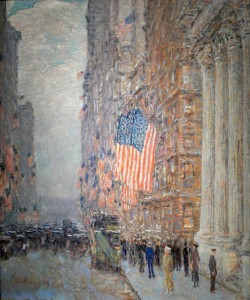 """Flags snap, high heels tap: a little sex and aggression, the city's delights."" One of my favorite quotes from architectural histrian Viencent Scully, seems to suit this Child Hassam painting of New York's Fifth Avenue."
