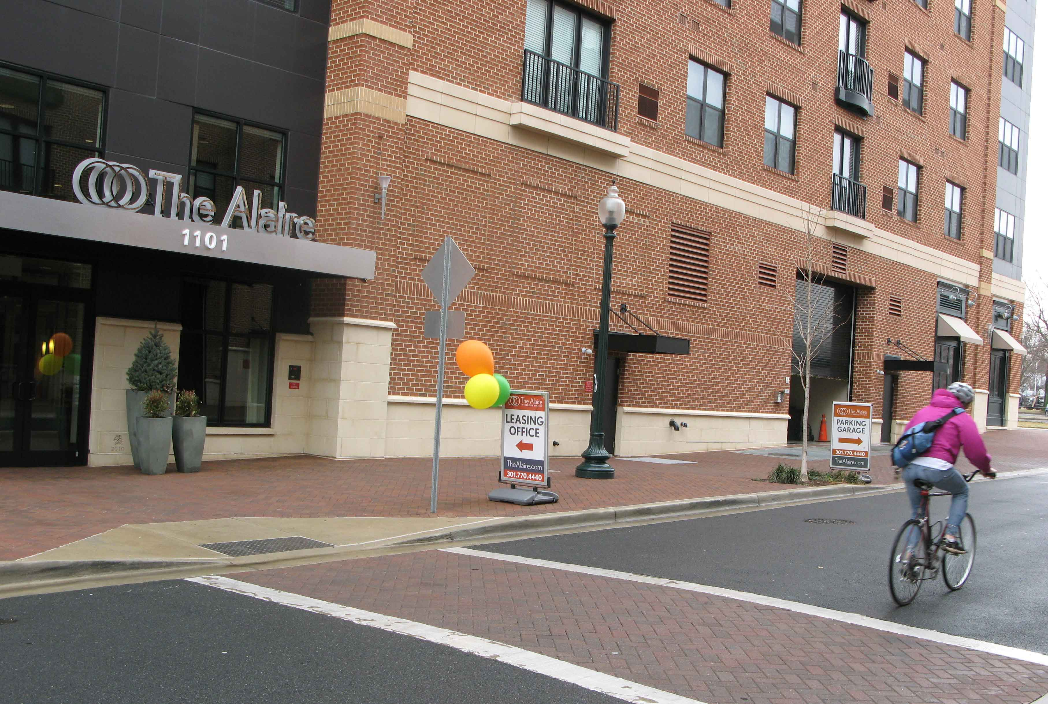 The Alaire is a swank new apartment building a block from the Twinbrook Metro Station.