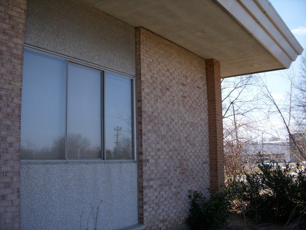 Windows are highlighted by prefabricated Tecfab type panels. The education wing of the recently designated Georgia Avenue Baptist Church has similar panels that date from 1962. The panels were developed by architect Charles Goodman.