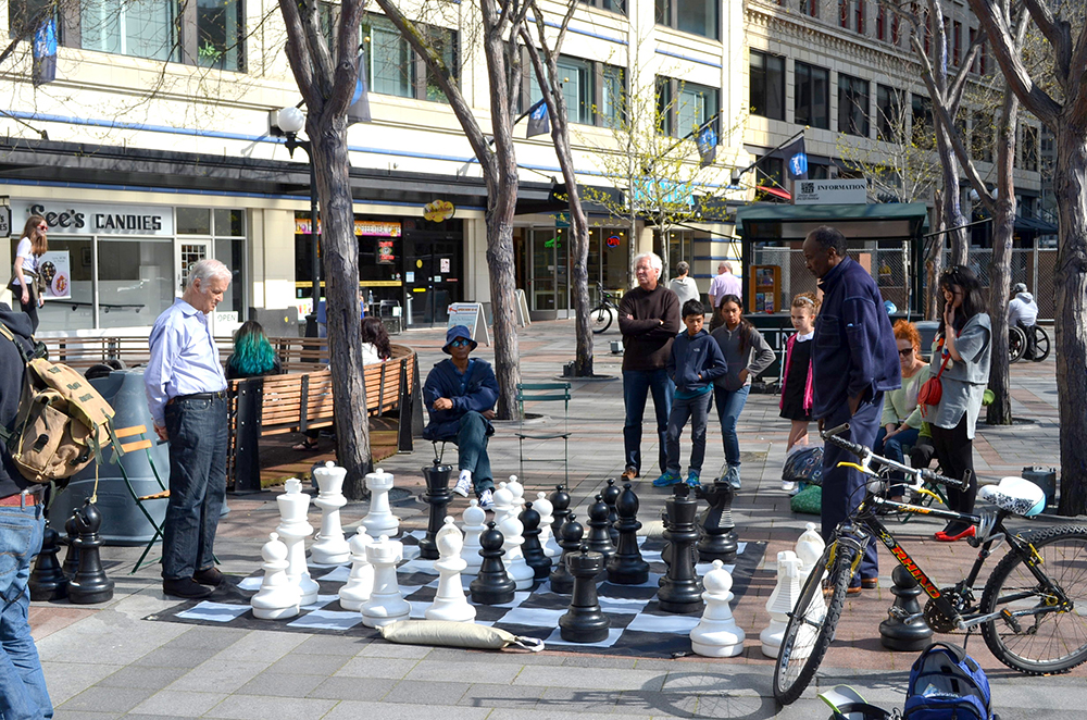 Well-designed urbanism and even tactical, temporary urbanism that draws young and old alike, can make places great. Westlake Plaza in Seattle offers both in this thriving Third Place.