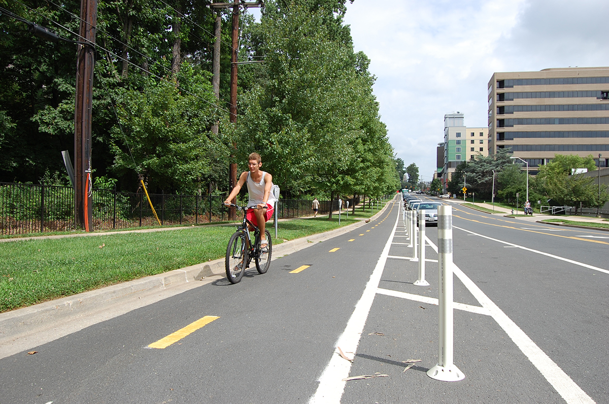 Separated bike lane on Woodglen Avenue in White Flint, Maryland
