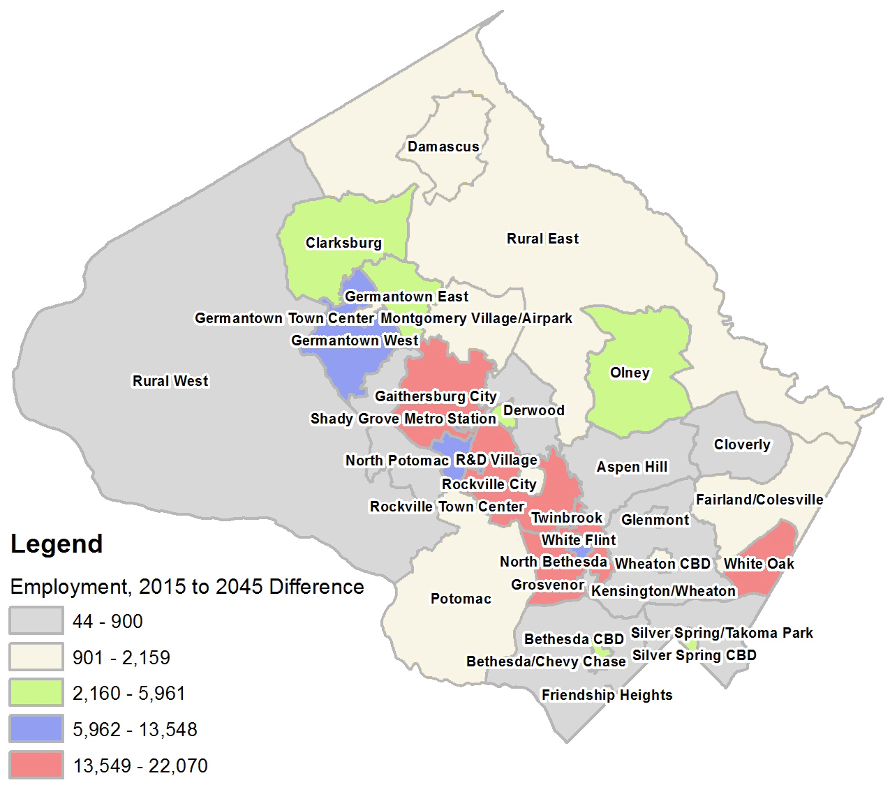 Employment Change Round 9.0 - 2015 to 2045