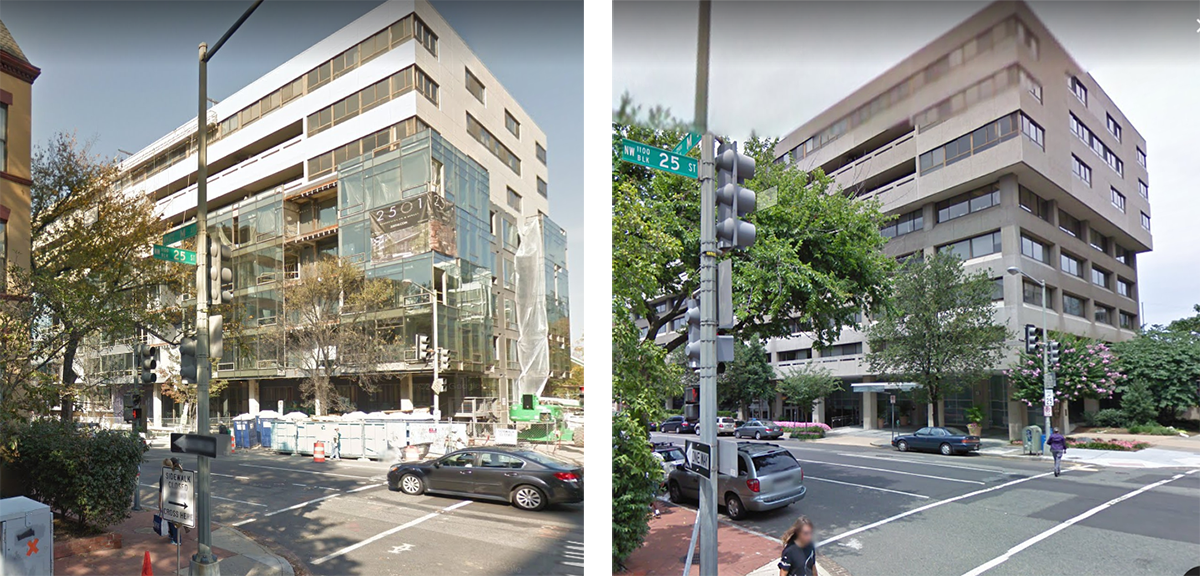 2501 M St NW, New and Old. An ongoing office-to-residential conversion in Downtown D.C.