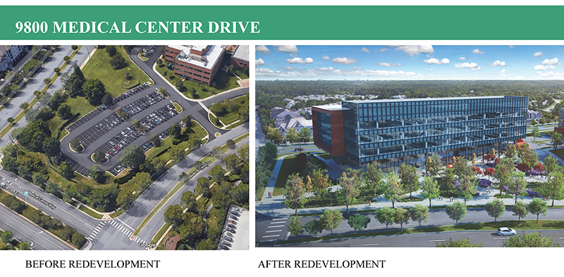 9800 Medical Center Drive, Before and After Redevelopment