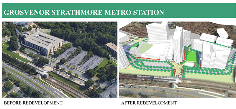 Grosvenor Strathmore Metro Station, Before and After Redevelopment