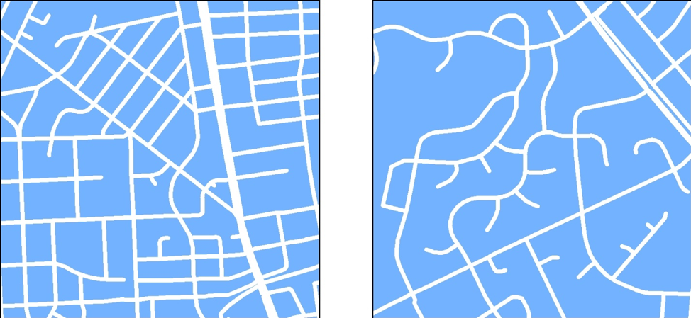 Connectivity is higher in Downtown Bethesda (left), which has a traditional grid of streets, compared to Olney (right), which has a conventional cul-de-sac pattern of streets.