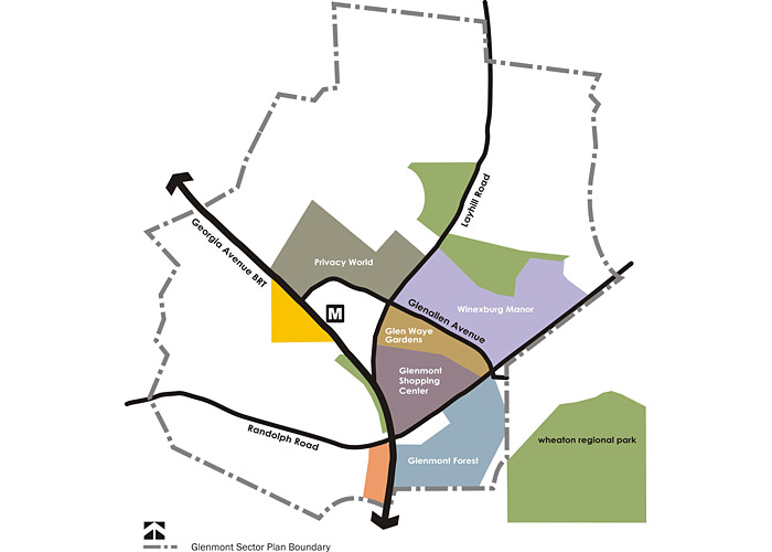 The Sector Plan area contains about 711 acres. The Glenmont Shopping Center at Georgia Avenue and Randolph, sits at the heart of the community.
