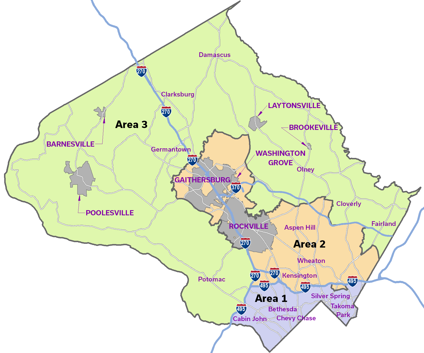 Areas map