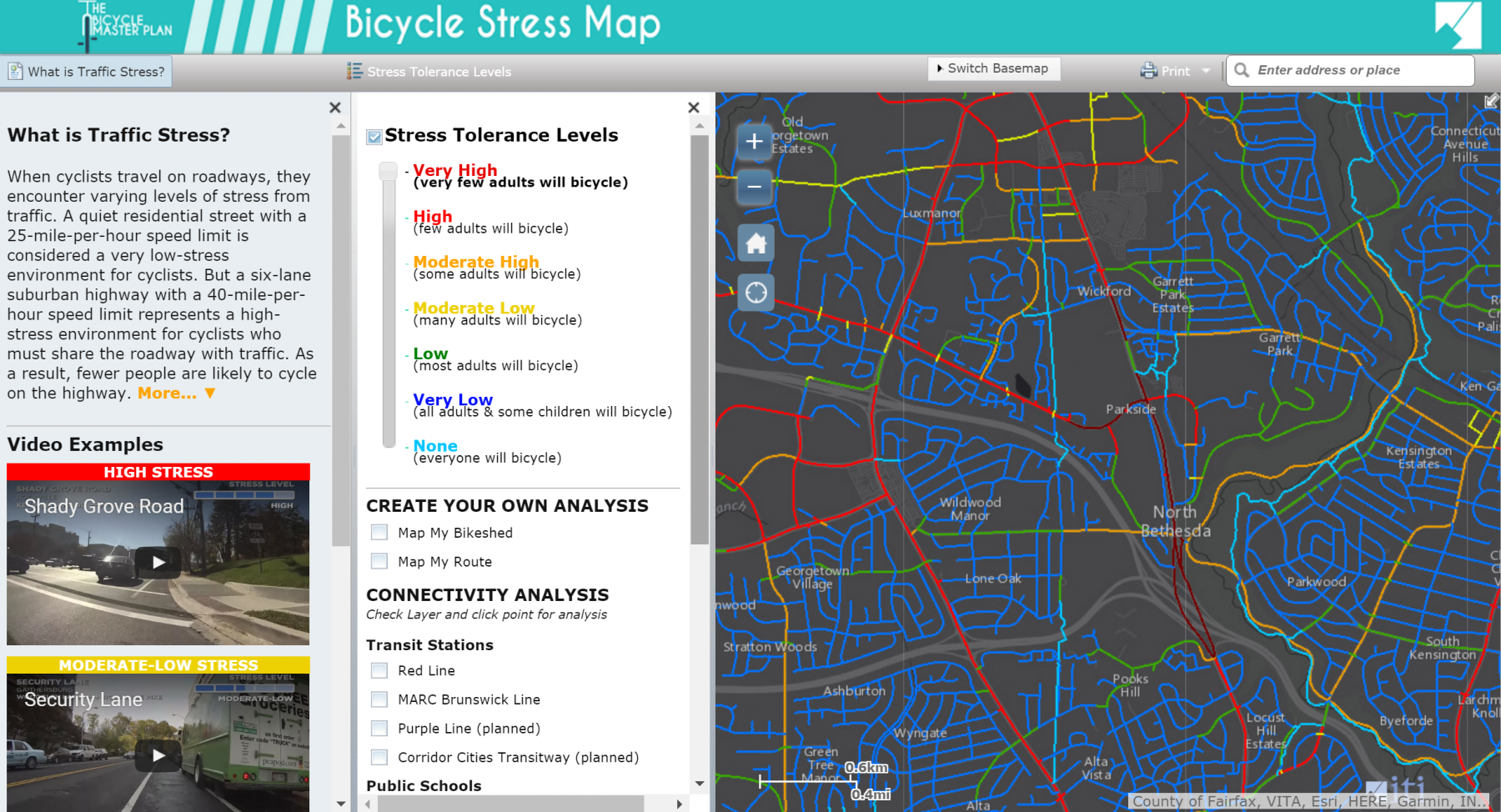 Bicycle Stress Map