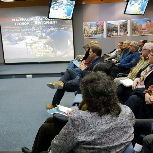 Montgomery Planning was honored to host international placemaking expert, Ethan Kent, Sr. Vice-President for the Project for Public Spaces on February 28, 2018. After an energizing workshop with Montgomery Planning staff, Ethan was the featured guest for a community meeting that brought a standing-room only crowd. Concepts included the Power of 10, the elements of successful public spaces and why they attract investment, people and activity and the strategies of creating such places and their potential economic impact on the suburban and urban-style communities of Montgomery County.