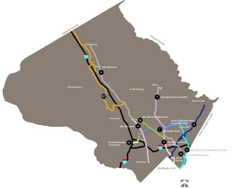 Master-Planned Transit Corridors Map