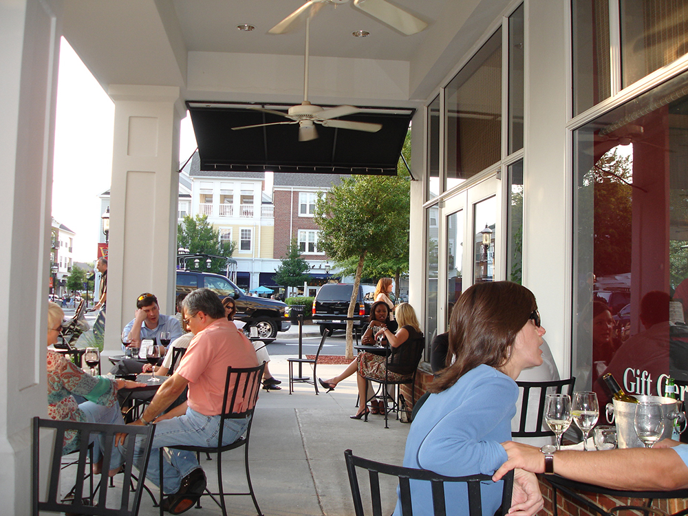 Birkdale Village outside Charlotte, NC. A vibrant public realm that engages the private realm of the shops, businesses and residences creates a safe and inviting environment for all.