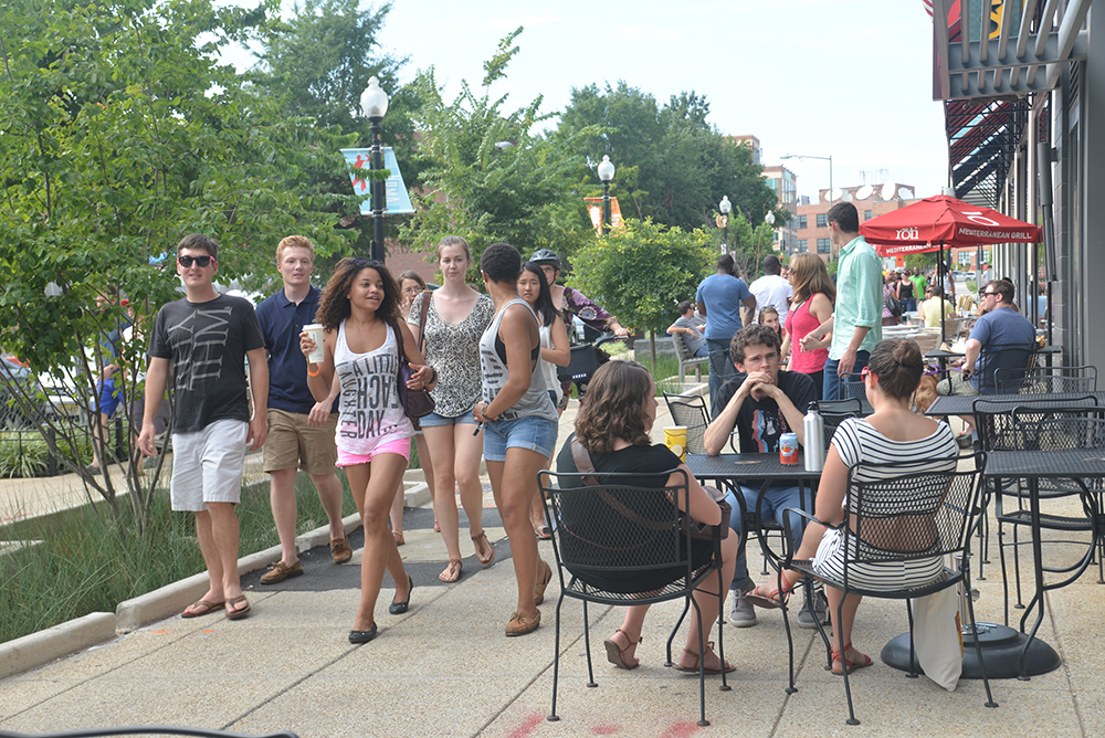 The NoMa neighborhood in DC offers and expansive public realm of wide sidewalks with great places to see and be seen. Architecture, landscape, rain gardens, street furnishings and a diverse mix of workers and residents makes this a quintessential Third Place.