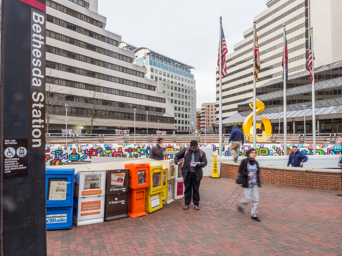 Bethesda Metro Station: Vibrant urban settings – such as Bethesda – that have restaurants, shopping, and transit offer a strong market for office conversions. Copyright: Bethesda Magazine