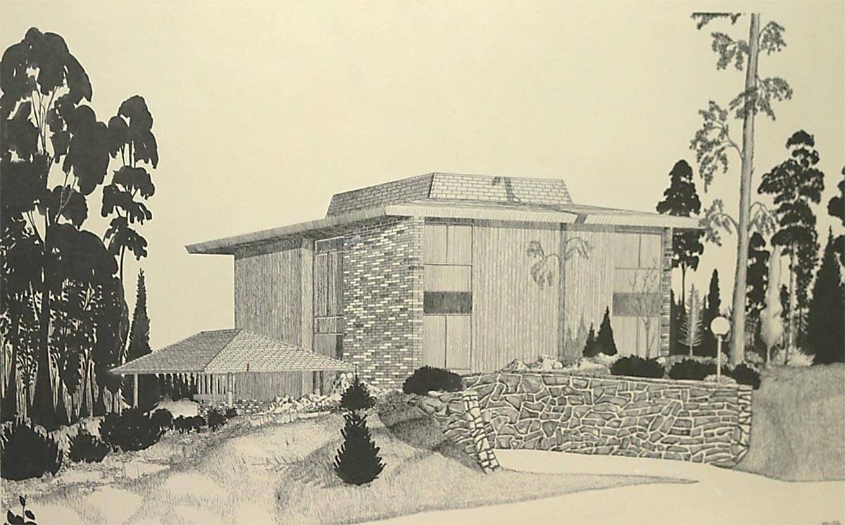 The lucky Nooters have this handsome architect's rendering of their house that was thoughtfully passed to them from the previous owners. The house features a pavilion-type roof characteristic of the era.