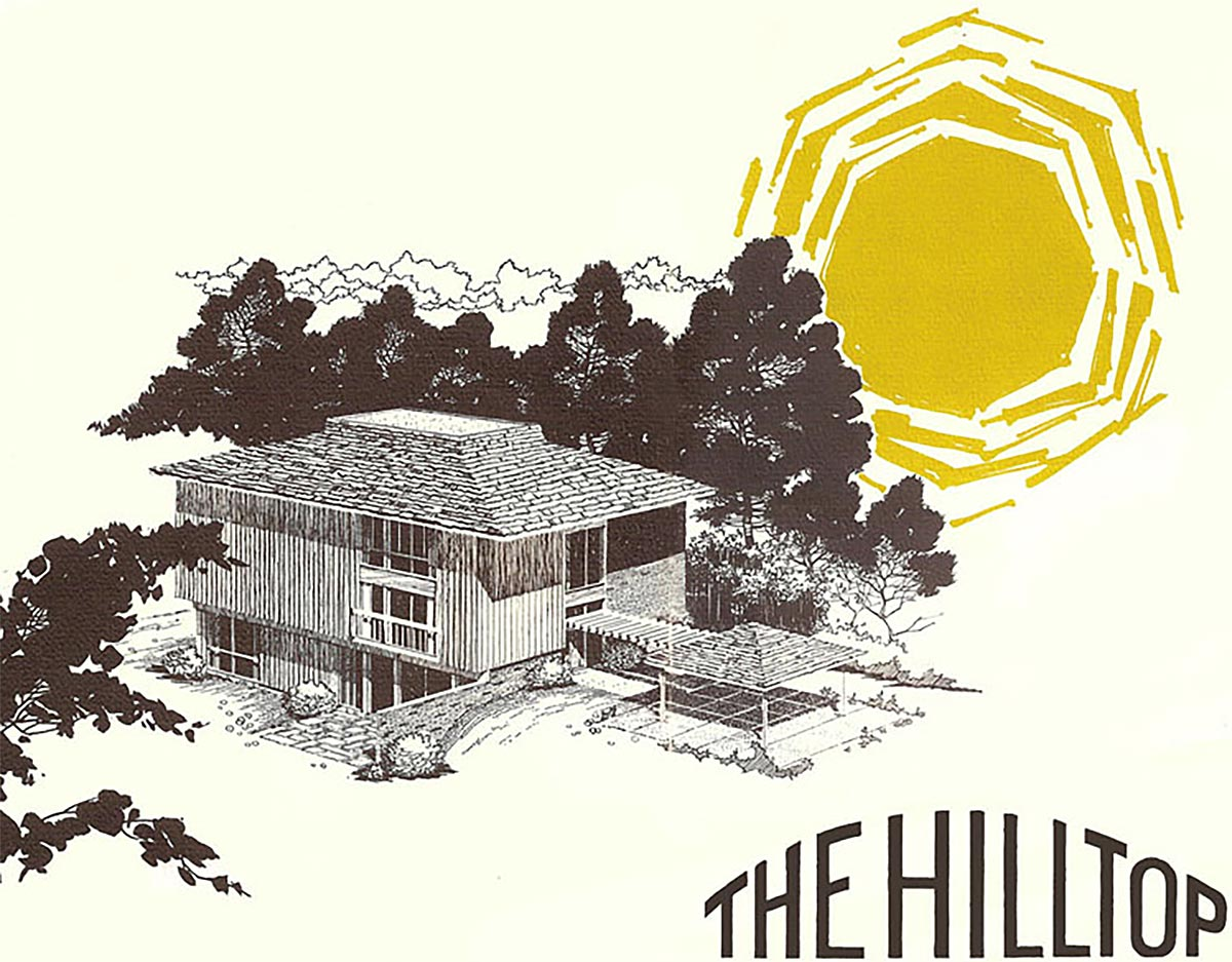The original brochure for The Hilltop features the model home now owned by the Nooters. The carport with breezeway pergola are still intact. The left façade overlooks Cabin John Regional Park. The Nooters replaced the original deck (not shown in this rendering) and added more windows to take advantage of the leafy view. The brochure is from the collection of Jane and Ron Stern, original Hilltop residents who joined us on the tour.