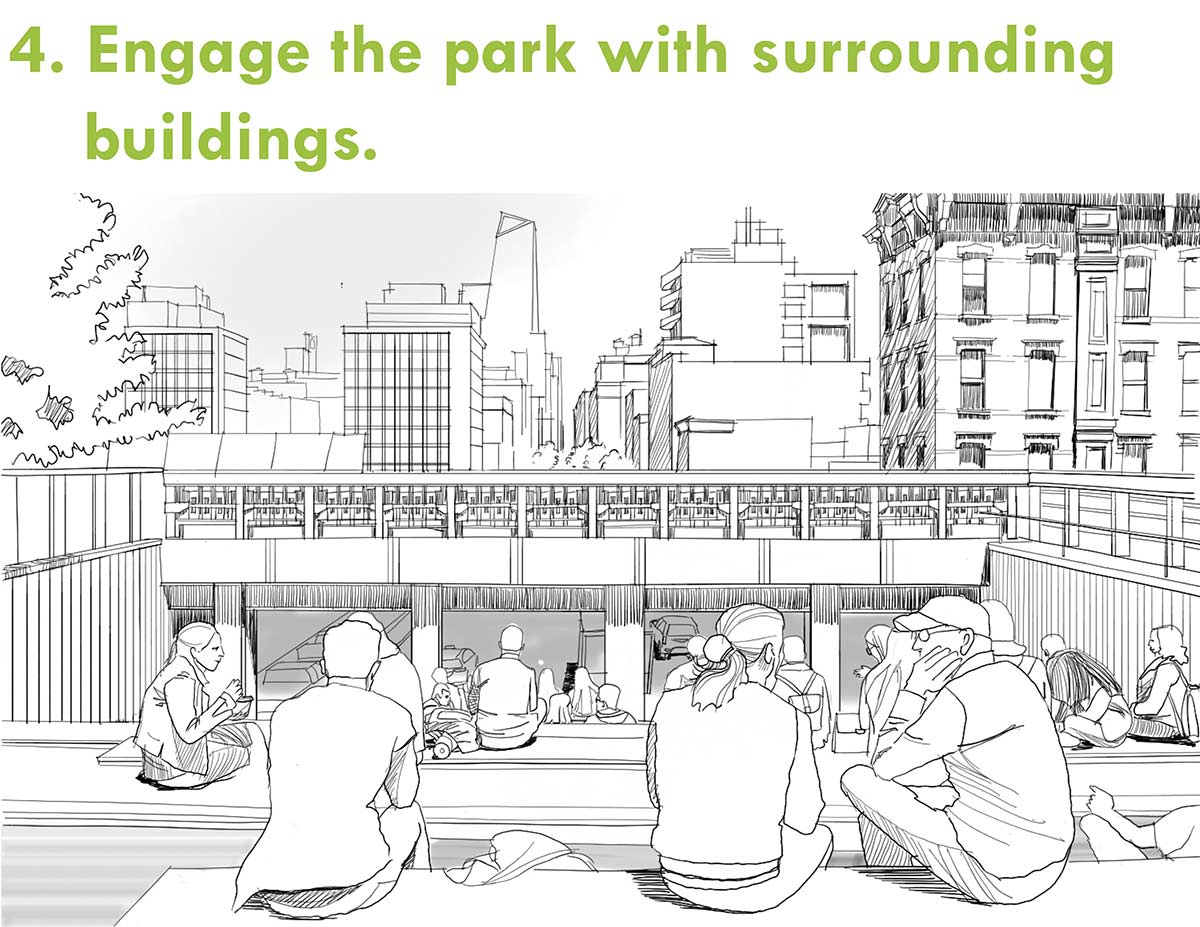 Engage the park with surrounding buildings