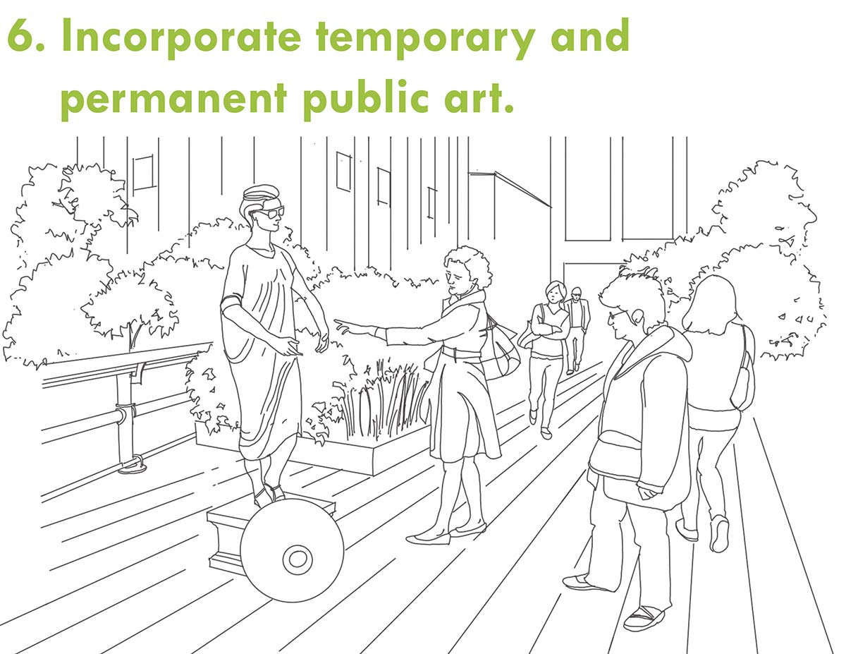 Incorporate temporary and permanent public art