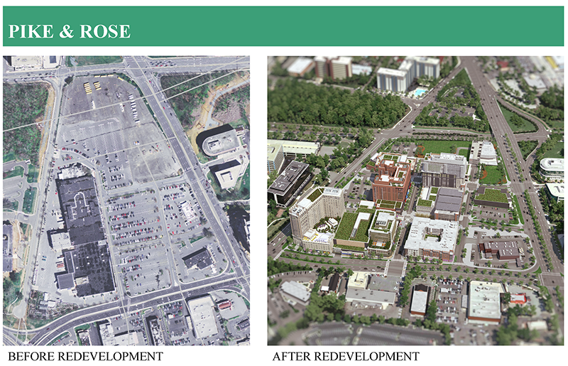 Pike and Rose, Before and After Redevelopment