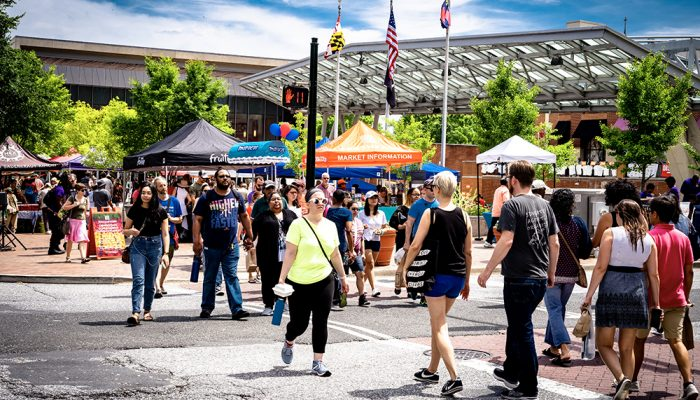 Farmers market at Veterans Plaza, Downtown Silver Spring