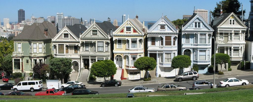 six identical Victorian houses in San Francisco