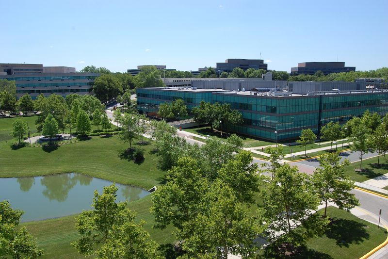 Low rise, spread out office park surrounded by green trees