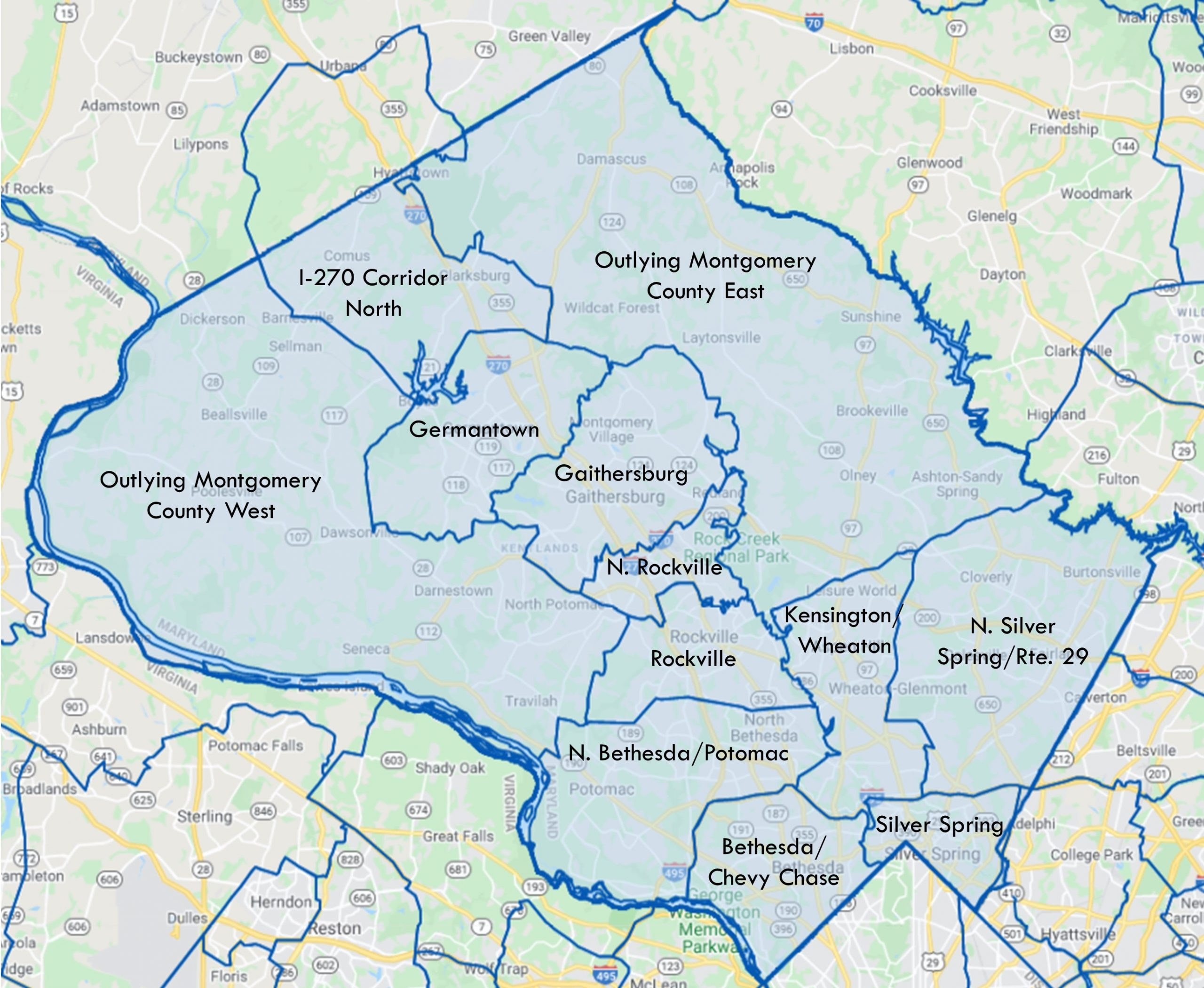 a map of Montgomery County that highlights the office submarkets of Bethesda/Chevy Chase, North Bethesda/Potomac, North Silver Spring/Route 29, Silver Spring, Kensington/Wheaton, Rockville, North Rockville, Gaithersburg, Germantown, Outlying Montgomery County East and outlying Montgomery County West