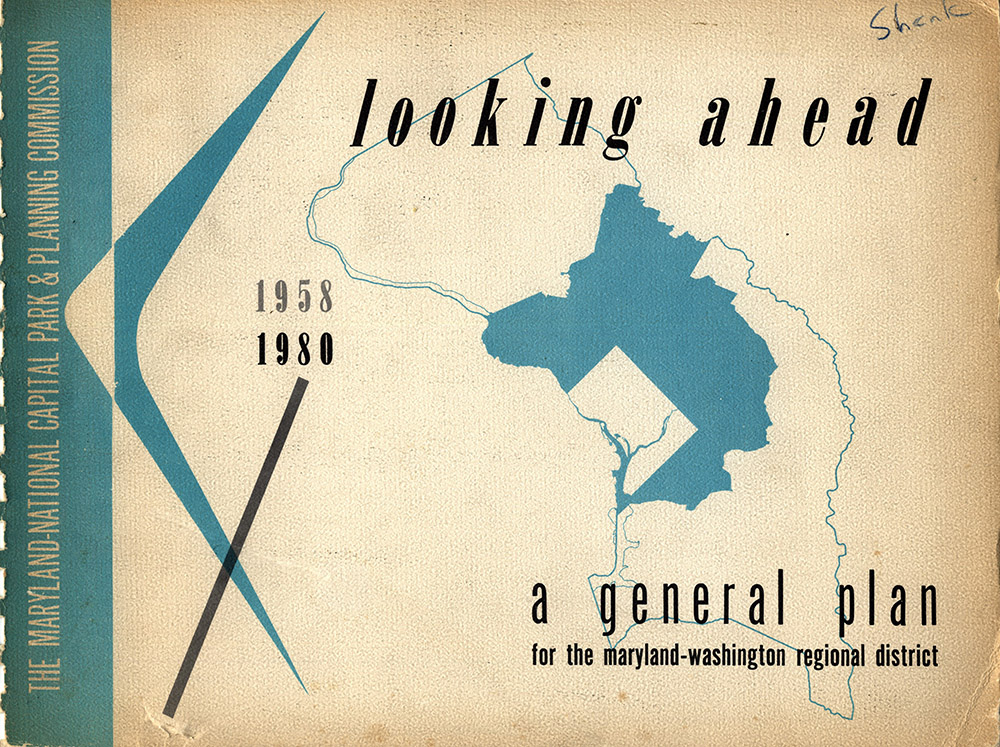 The cover of the county's first general plan, called The General Plan for the Maryland-Washington Regional District, the official name of the M-NCPPC's planning jurisdiction at the time. It shows the boundary of het two county with the 294 square miles in Montgomery and Prince George's counties that comprised the Maryland-Washington Regional District in dark blue.