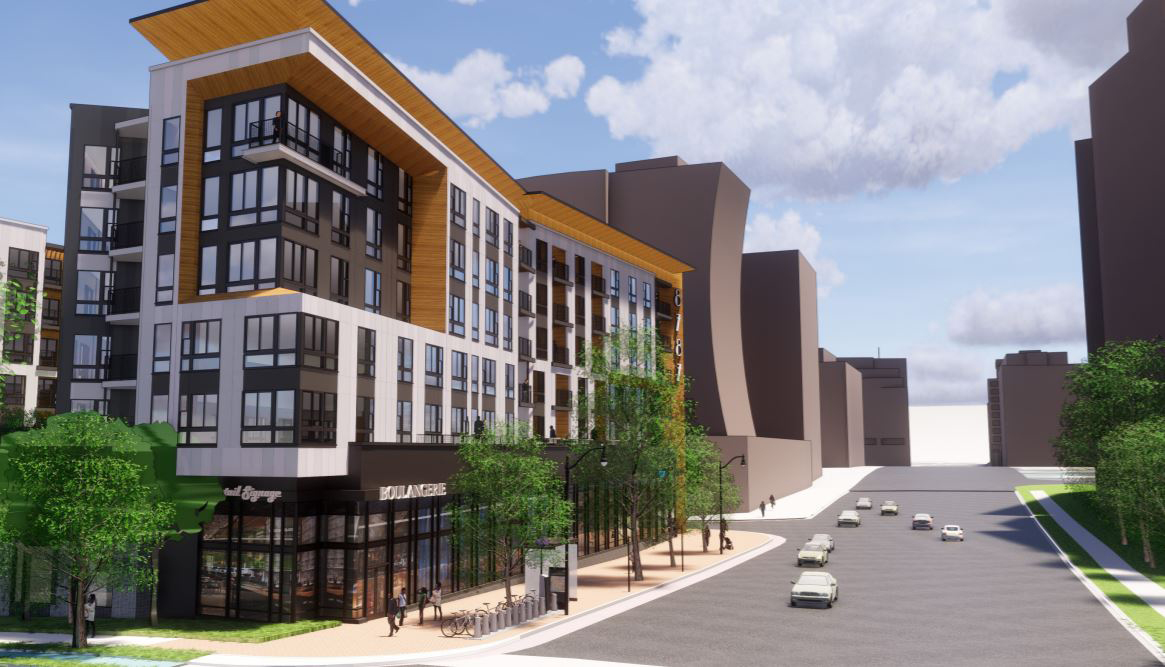 A computer drawing of the new mixed-use building facing onto Georgia Avenue in Silver Spring with a store shown on the first floor, apartment windows above and a deep, heavy cornice at the top of the building.