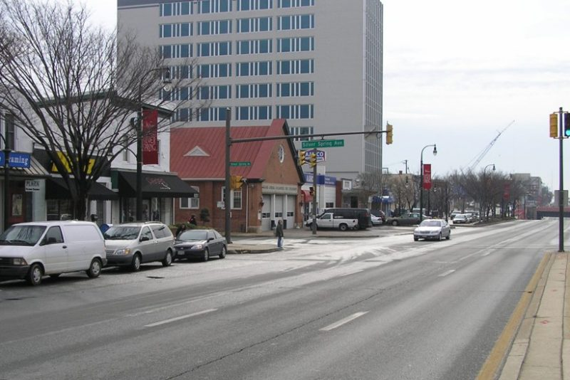 Full color photo Georgia Avenue looking south near Silver Spring Avenue taken in 2008.
