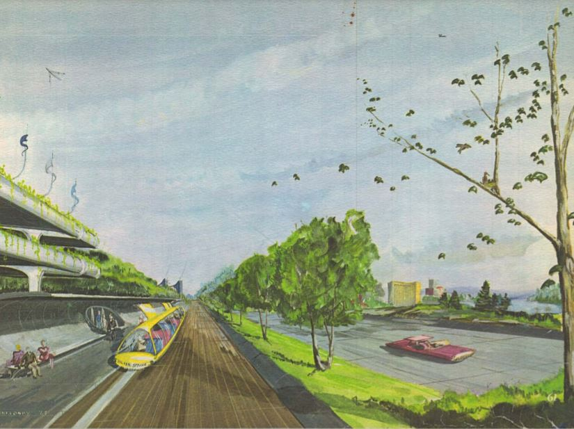 an artist's rendering from the 1964 On Wedges and Corridors General Plan showing Silver Spring of the future including futuristic looking vehicles.