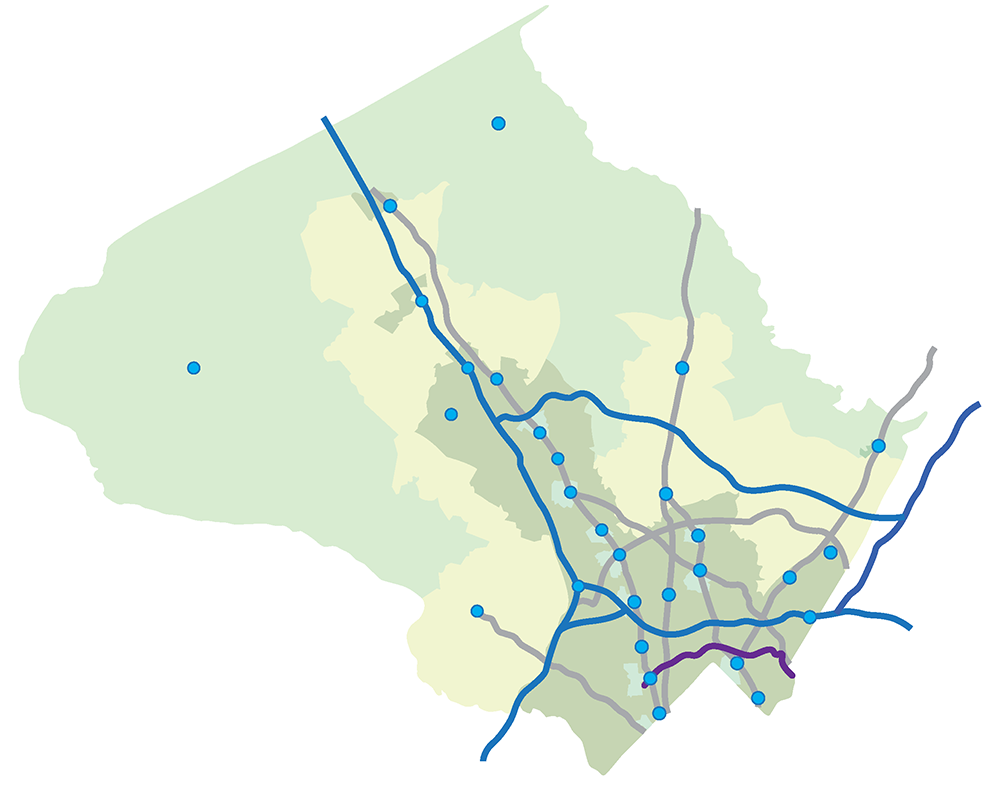 Graphic depiction of the county in 2019. It shows a web of major roads and centers of commercial activity of various sizes as nodes at the intersections of major roads and Metro station areas.