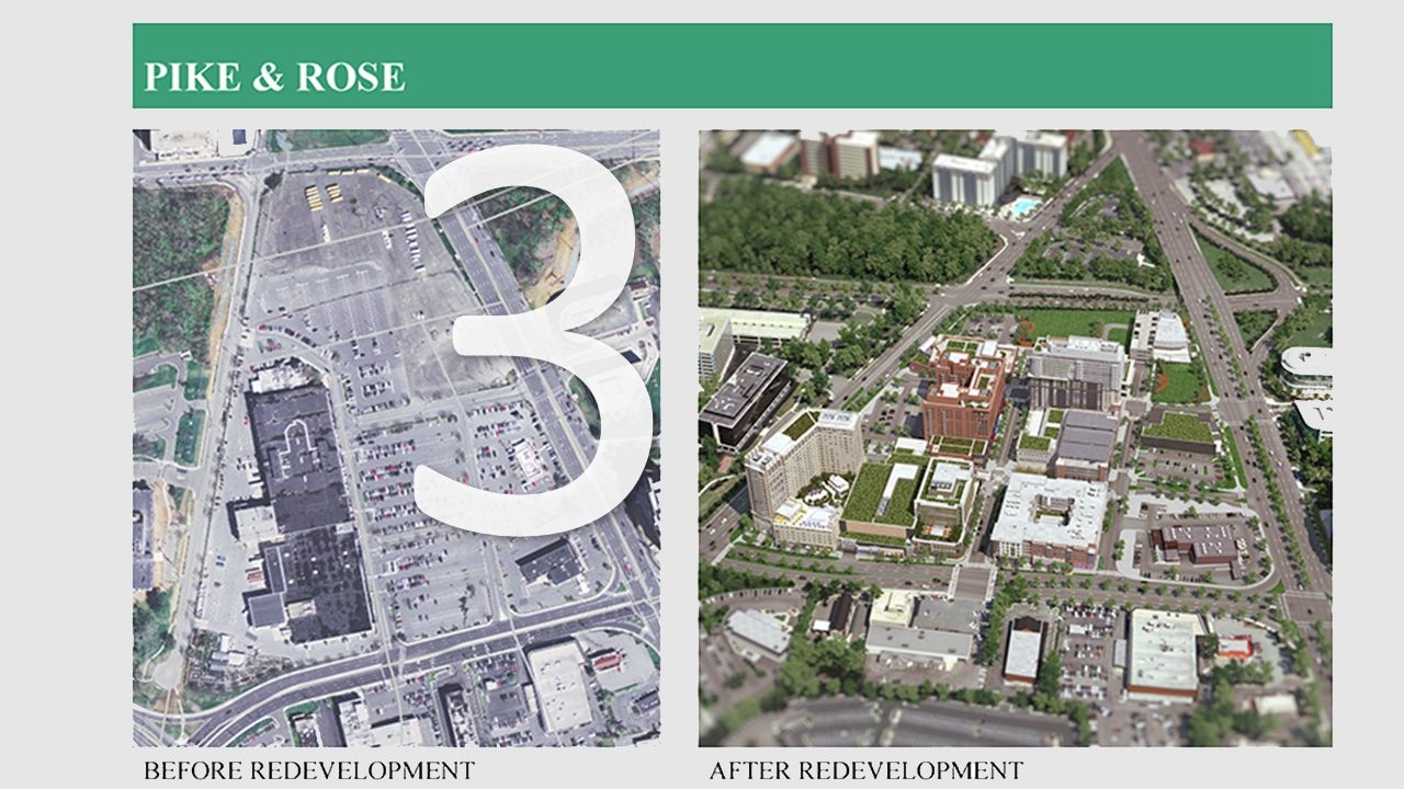 a side-by-side comparison of Pike & Rose development viewed from overhead. The photo to the left shows the area prior to redevelopment and the photo to the right shows the area after development. The number three is displayed over the left photo