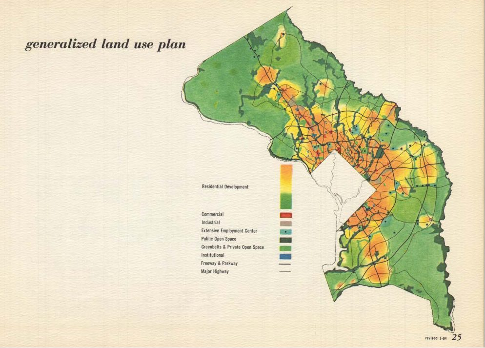 a full-color map from the 1964 Wedges and Corridors Plan showing Urban and Rural Patterns of Montgomery and Prince George's Counties. There is a gradient of colors in the legend showing Residential Development in orange and yellow. Commercial is shown in red, Industrial in grey, Extensive Employment Center with light blue with a black dot, Public Open Space is dark green, Greenbelts & Private Open Space is bright green, Institutional is blue and Freeway & Parkway is a dark grey line and Major Highways are shown with a light grey line.