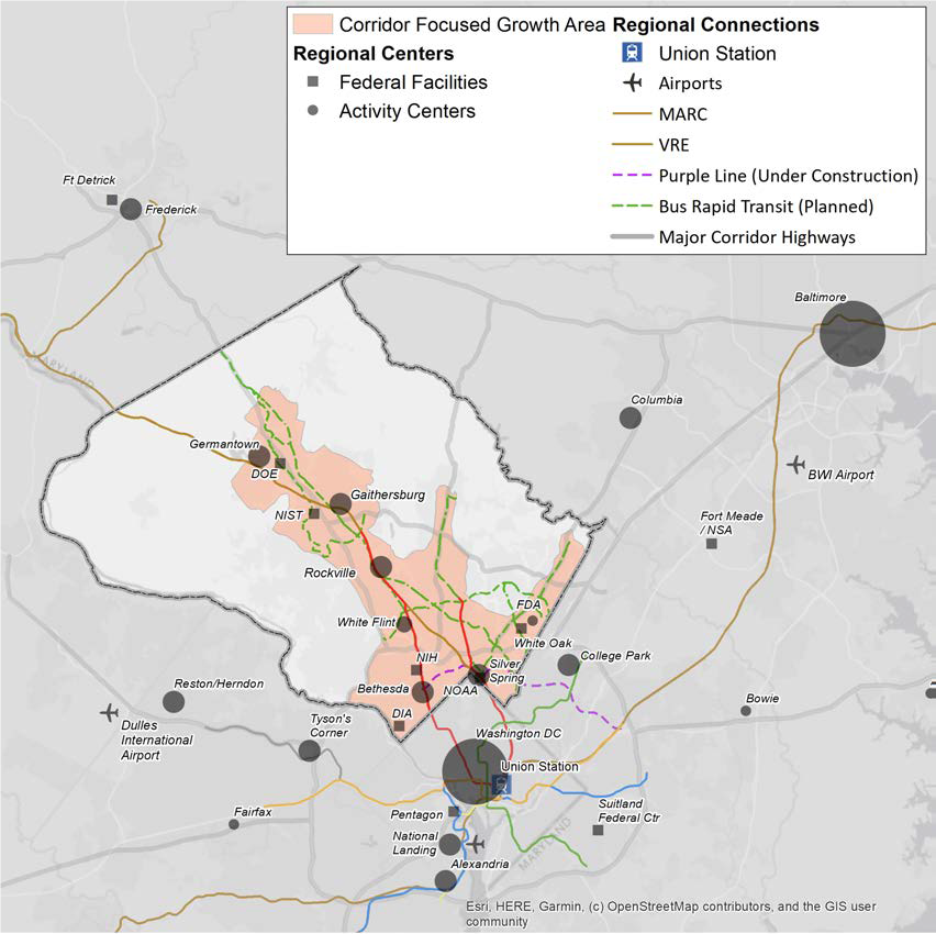 Map of the DC region showing Regional Connections to Activity Centers Maryland, DC and Northern Virginia with Federal Facilities and Activity Centers marked on the map with dots. There is a pink area in Montgomery County shown going from the downcounty area of Bethesda and Silver Spring up I-270 and major corridors.