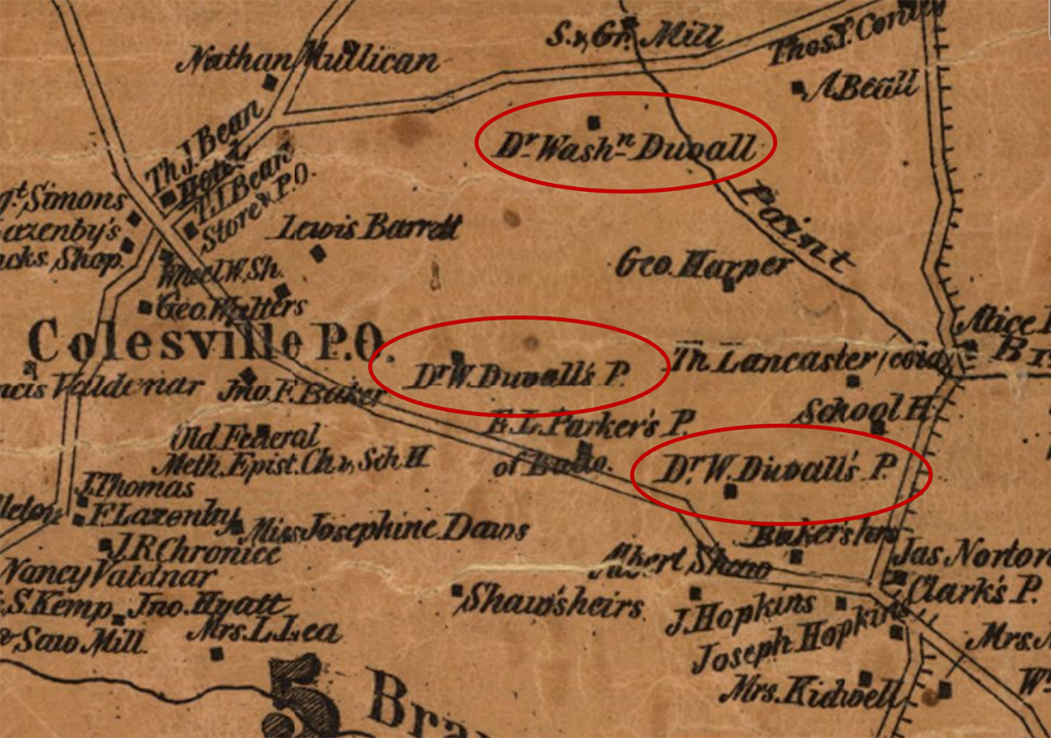 Historic map of the Colesville area to the east of New Hampshire Avenue with three properties belonging to Dr. Washington Duvall circled.