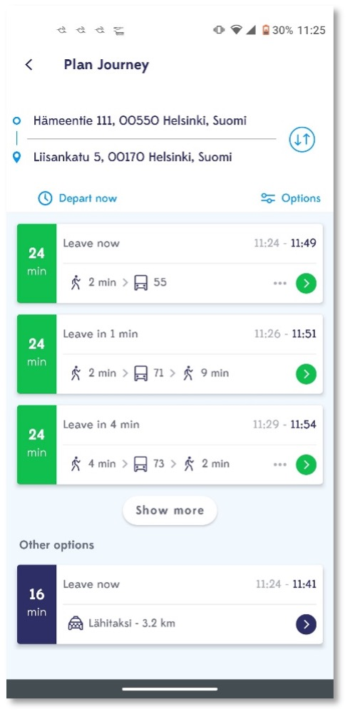 screenshot of a MaaS application allowing the traveler to view price and duration information for both private and public mobility options