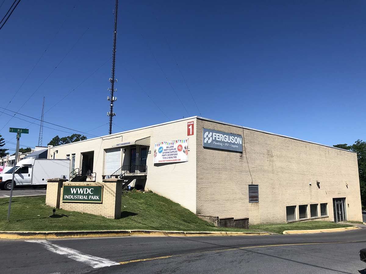 WWDC Industrial Park building shared by a party supply company and a plumbing contractor