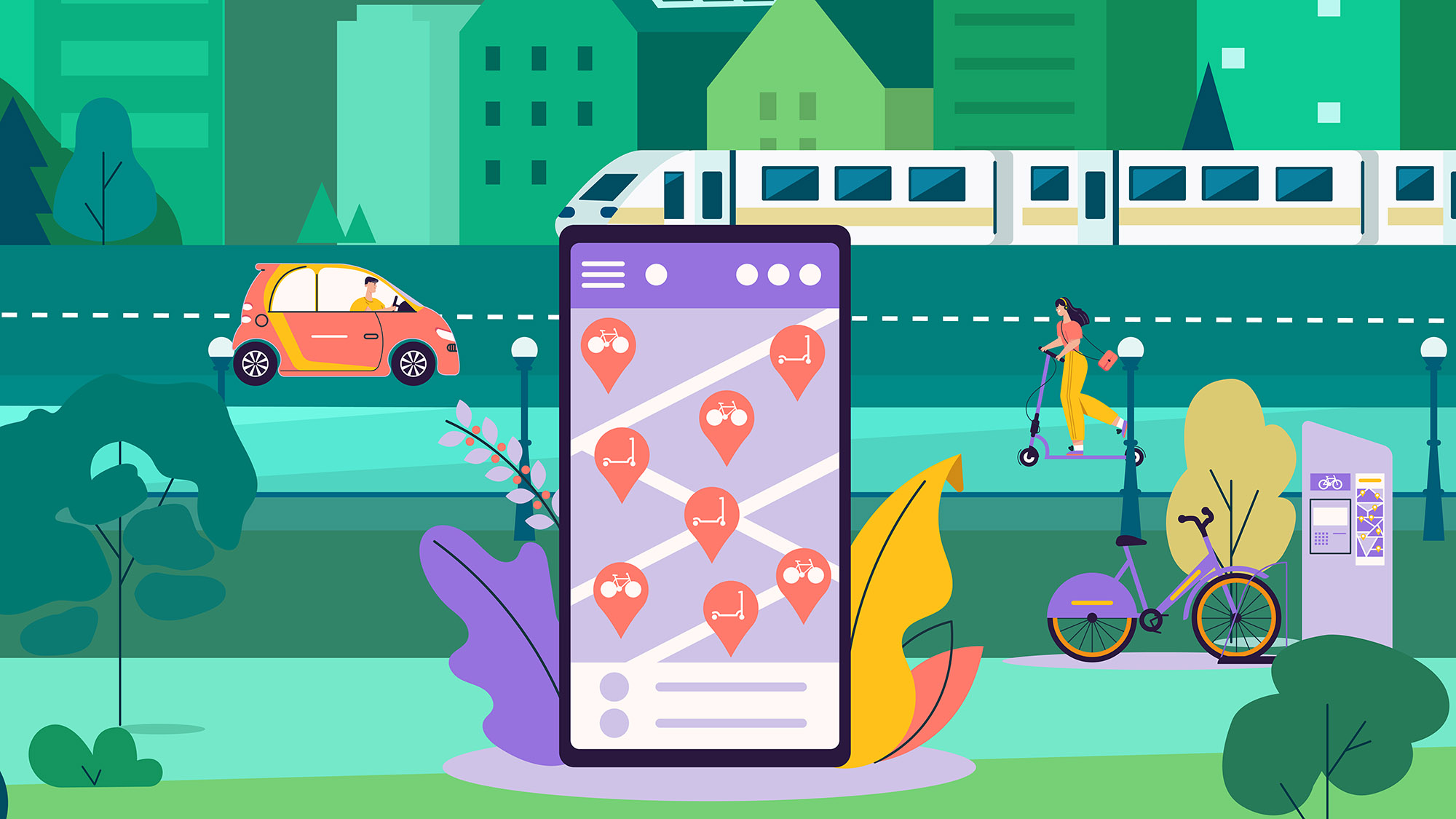 Graphic of mobile phone with transportation app on screen in foreground, different modes of transportation in background -- car, train, bike, scooter