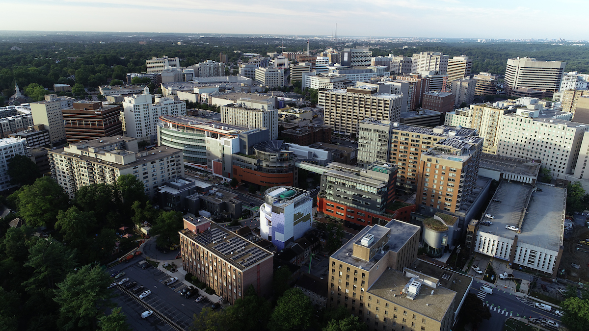Aerial photograph of the United Therapeutics campus in Silver Spring, Maryland, looking South.
