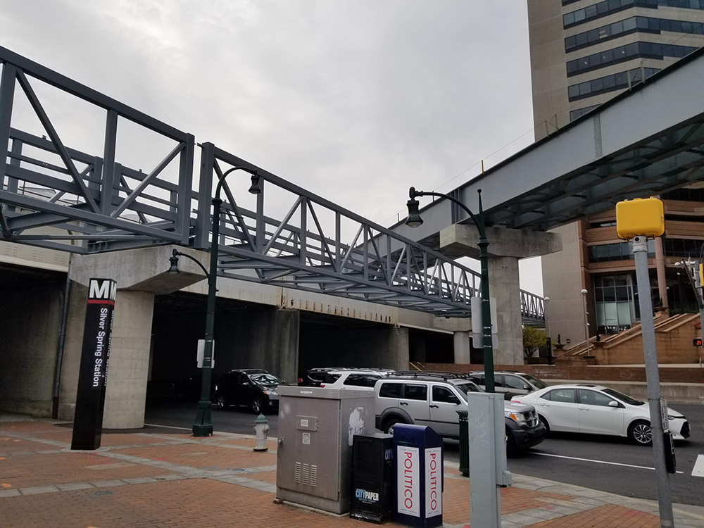 Silver Spring Transit Center with new connecting bridges for Capital Crescent Trail and Purple Line