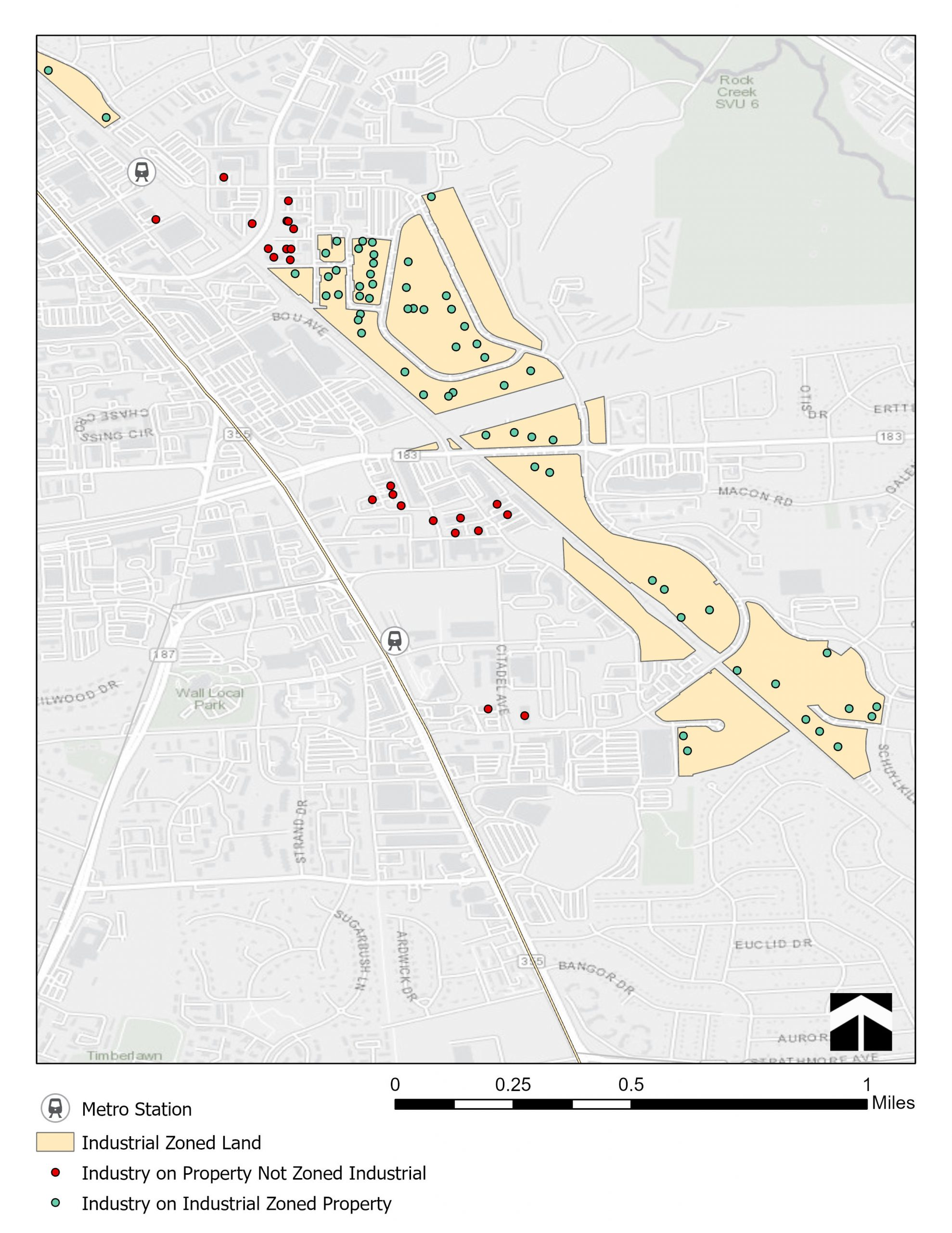 Map of the Twinbrook/White Flint industrial cluster showing industrial zoned land, and industrial properties. Industrial properties that are not zoned for industry are suseptible to redeveloment and are closest to the Metro stations.