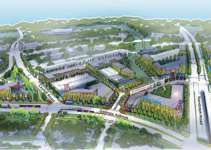 The Glenmont Sector Plan draft envisions a residential neighborhood with a mix of uses concentrated around the Glenmont Metro Station and Glenmont Shopping Center.