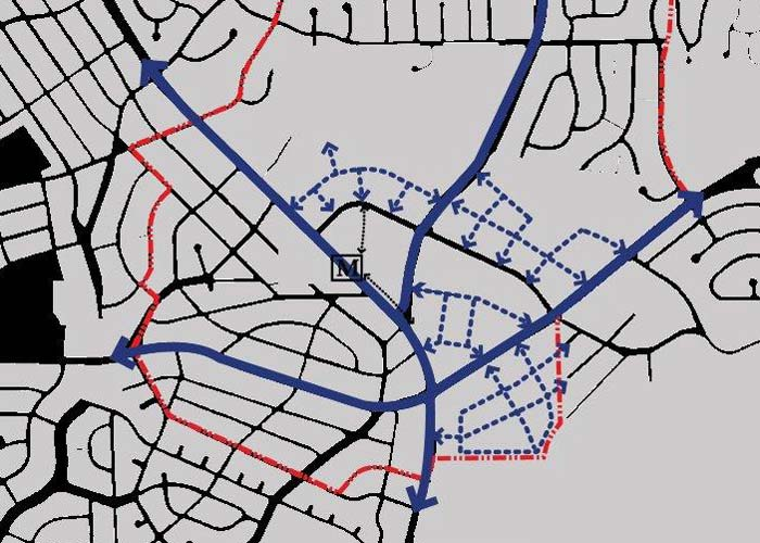 The plan envisions new streets in a grid pattern that would provide alternative routes for local traffic.
