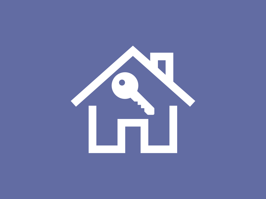 A key within outline of a house (graphic)