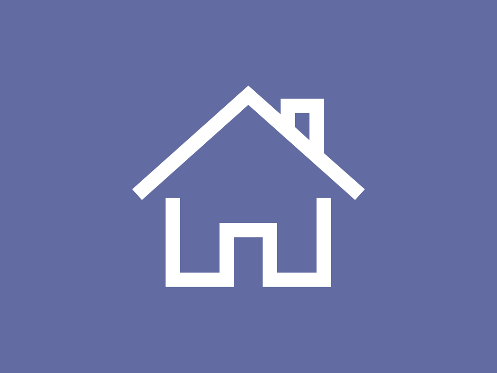 Outline of house on blue background