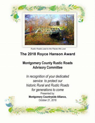 2018 Royce Hanson Award - Montgomery County Rustic Roads Advisory Committee