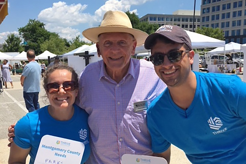 Montgomery Planning staff with Planning Board member Gerald R. Cichy at June 26 Thrive Week event at Shady Grove Farmers Market