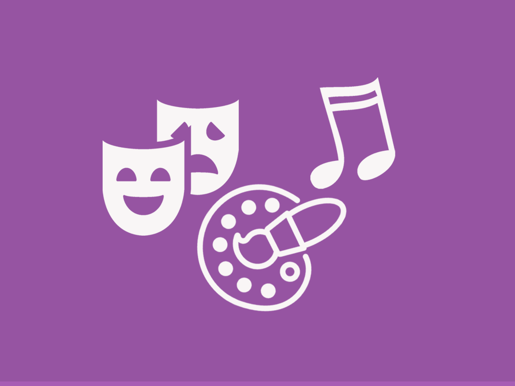 Comedy/tragedy drama masks, artist palettem and music sixteenth notes